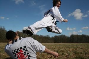 Coup de pied sauté de taekwonkido (photo tous droits réservés de Maitre R.M)