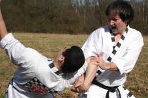 Clé de bras de taekwonkido (photo tous droits réservés de Maitre R.M)